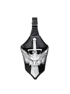 3D Dragon Sword Backpack PU Leather Rucksack Shoulder Bag