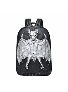 3D Bat Amazing Studded Backpack PU Leather Rucksack Shoulder Bag