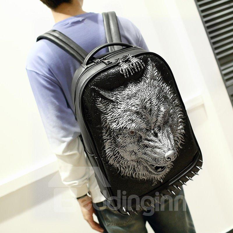 3D Wolf Head Studded Backpack PU Leather Rucksack Shoulder Bag