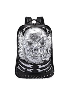 3D Skull Angel Wing Studded College Backpack PU Leather Shoulder Bag