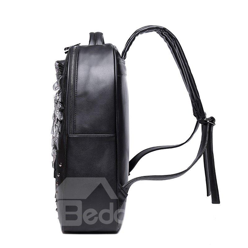 3D Owl and Skull Studded College Backpack PU Leather Shoulder Bag
