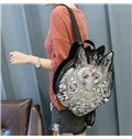 3D Fox Studded College Backpack PU Leather Shoulder Bag