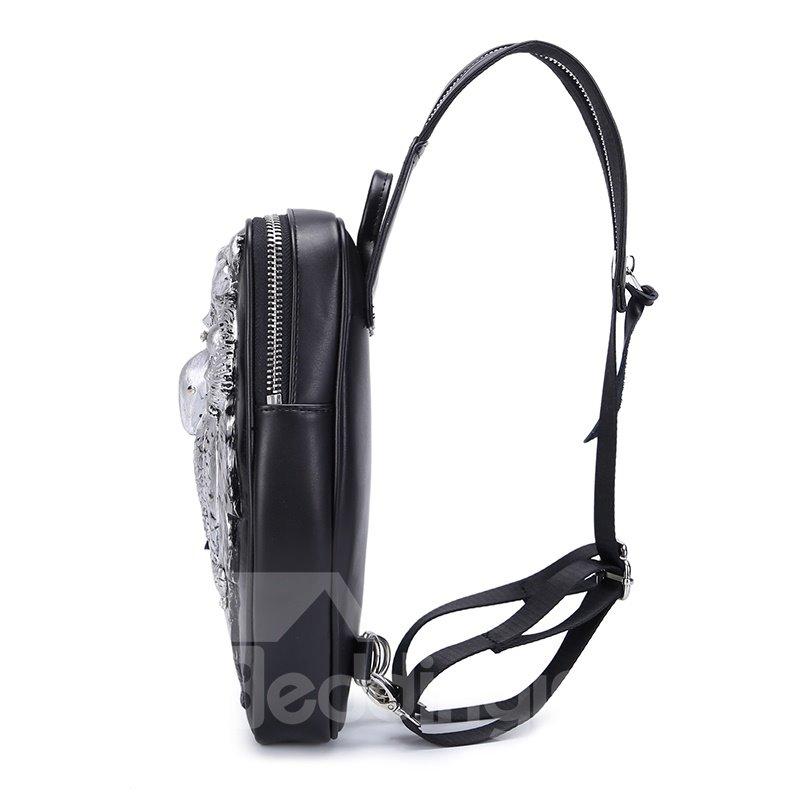 3D Owl Studded College Backpack PU Leather Durable Rucksack Shoulder Bag