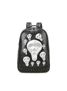 Many Skull Face 3D PU Leather Casual Laptop Backpack School Bag
