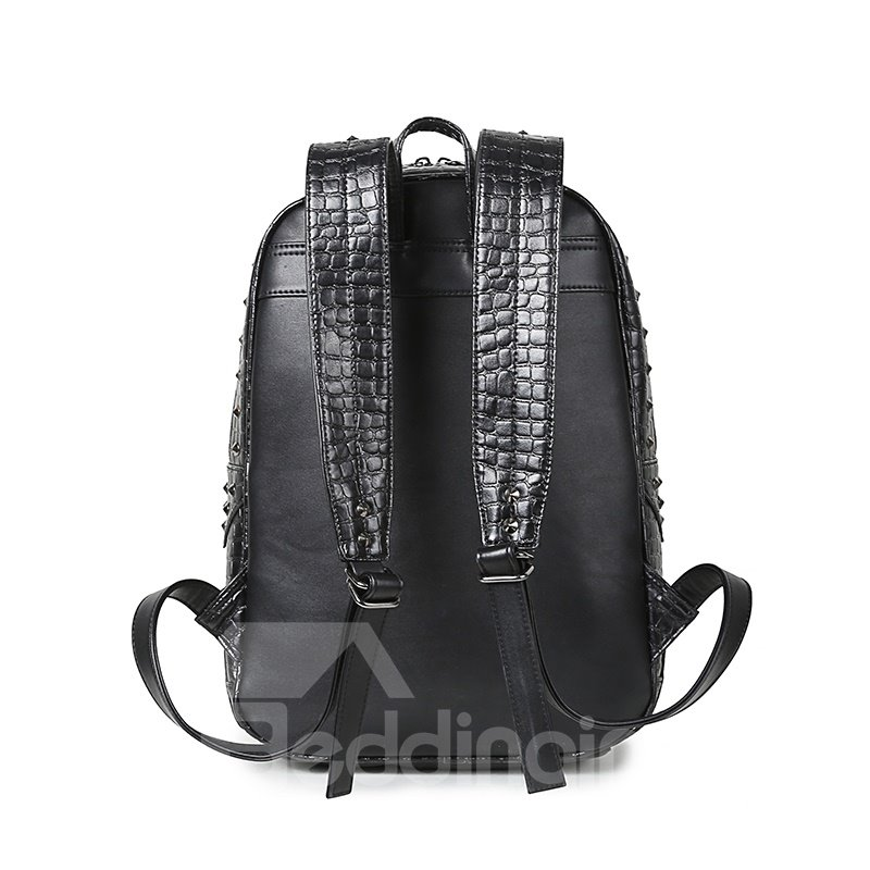 Ghost Skull 3D PU Leather Durable Casual Laptop Backpack School Bag
