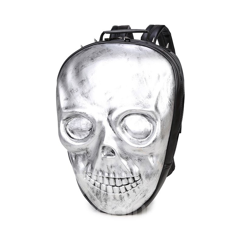 3D Skeleton Shape PU Leather Durable Casual Laptop Backpack School Bag