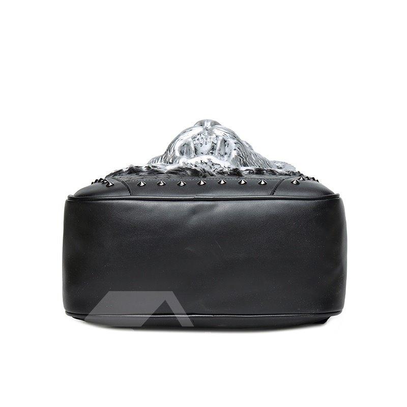 Lion Roar Head 3D PU Leather Durable Casual Laptop Backpack School Bag