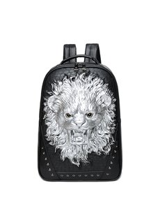 Lion Roar Head 3D PU Leather Casual Laptop Backpack School Bag