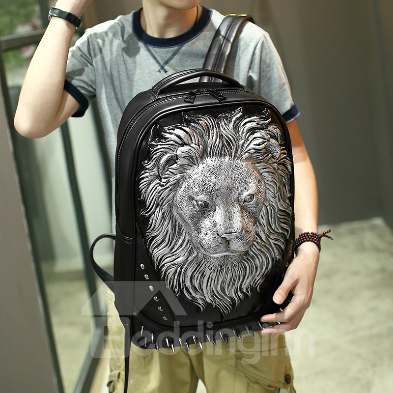 Personalized 3D Lion PU Leather Durable Casual Laptop Backpack School Bag