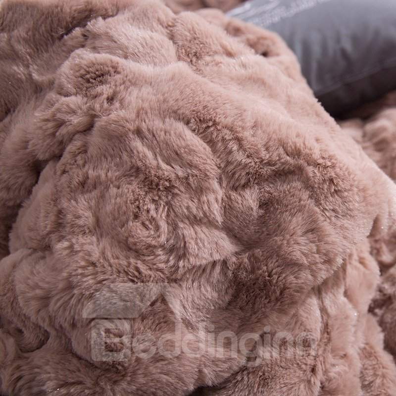Solid Khaki with Decorative Fuzzy Ball Faux Rabbit Fur 4-Piece Fluffy Bedding Sets