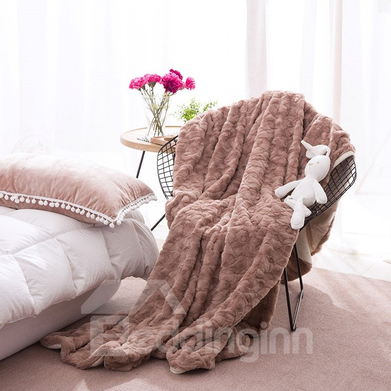 67 Solid Khaki With Decorative Fuzzy Ball Faux Rabbit Fur 4 Piece Fluffy  Bedding Sets