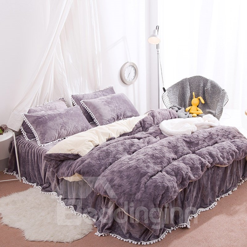 Solid Purple with Decorative Fuzzy Ball Faux Rabbit Fur Fluffy 4-Piece Fluffy Bedding Sets