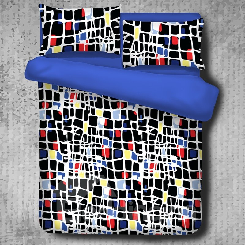 Colorful Blocks Texture Printed Abstract Style Polyester 4-Piece Bedding Sets/Duvet Cover