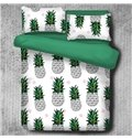 Green Pineapples Printed Polyester 4-Piece Bedding Sets/Duvet Cover