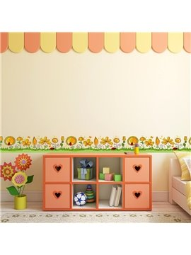 Yellow Flowers Printed PVC Waterproof Eco-friendly Baseboard Wall Stickers