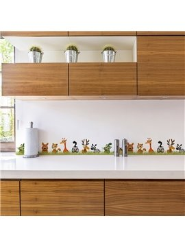 Animal World Printed PVC Waterproof Eco-friendly Baseboard Wall Stickers