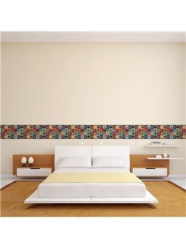 Bohemian Pattern Printed PVC Waterproof Eco-friendly Baseboard Wall Stickers