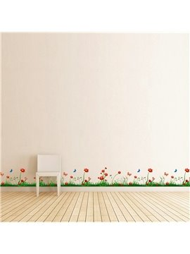 Grass Flowers Printed PVC Waterproof Eco-friendly Baseboard Wall Stickers