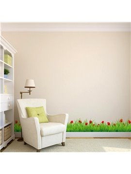 Green Lawn Pattern PVC Waterproof Eco-friendly Baseboard Wall Stickers