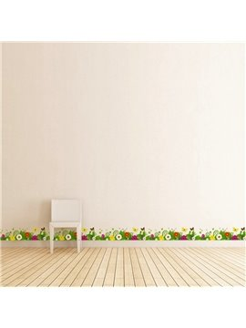 Flowers and Grass Printed PVC Waterproof Eco-friendly Baseboard Wall Stickers