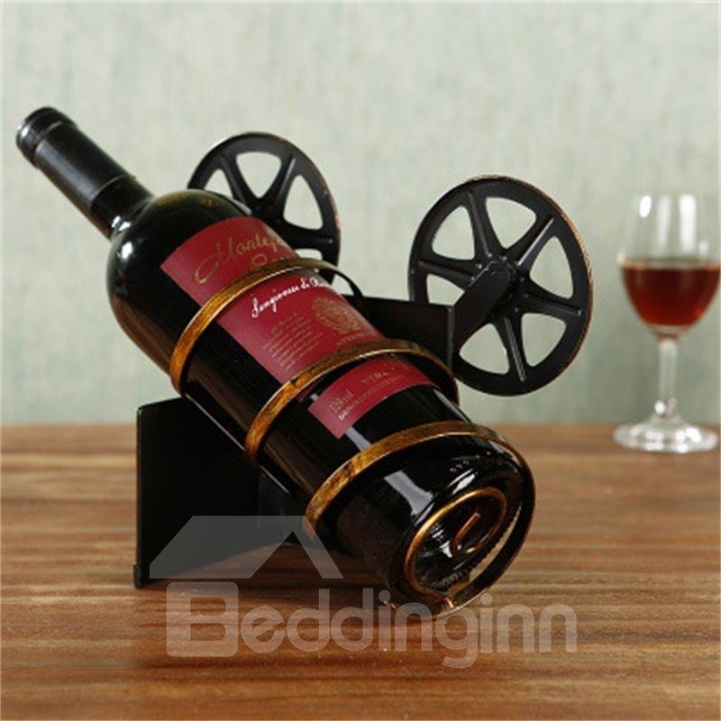 Metal Home Decoration Retro Camera Delicate and Creative Birthday Gift Wine Rack