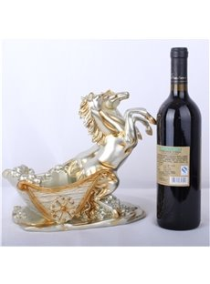 European Golden Running Horse Creative Home Decoration Red Wine Rack
