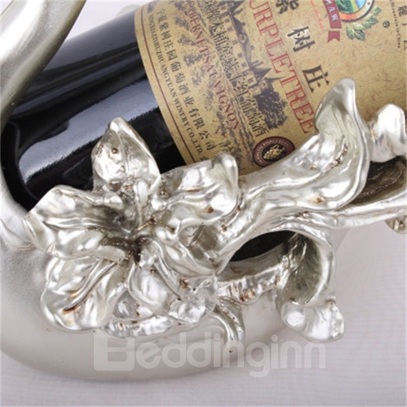European and Retro Silvery Flowers Resin Craft Home Decoration Red Wine Rack
