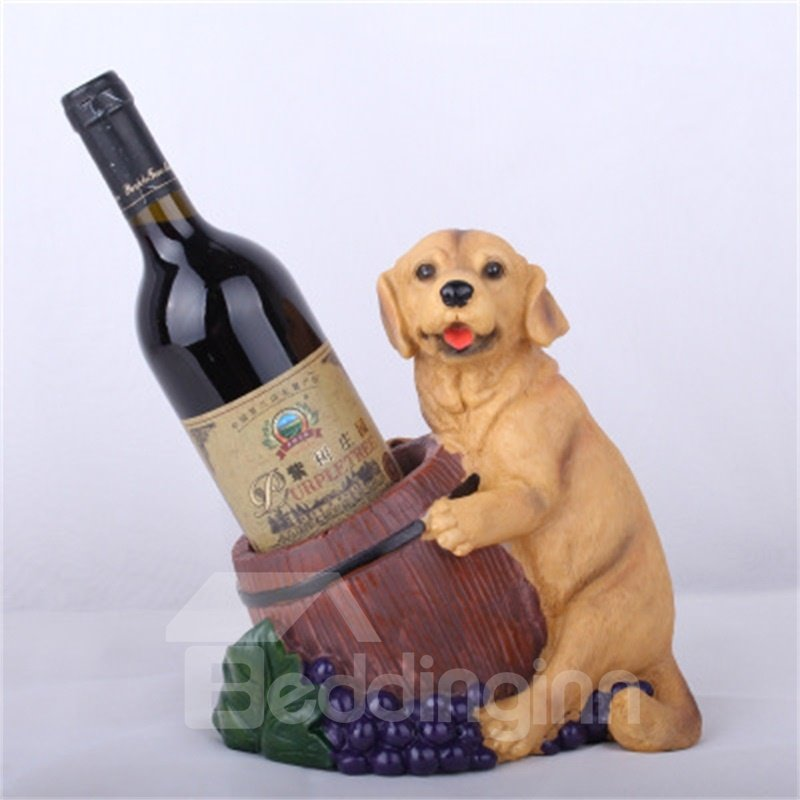 Modern and Creative Wine Cabinet Resin Crafts Lovely Dog Red Wine Rack