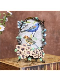 Retro and Pastoral Style European Zinc Alloy with Beautiful Flowers Wedding Gift Photo Frame