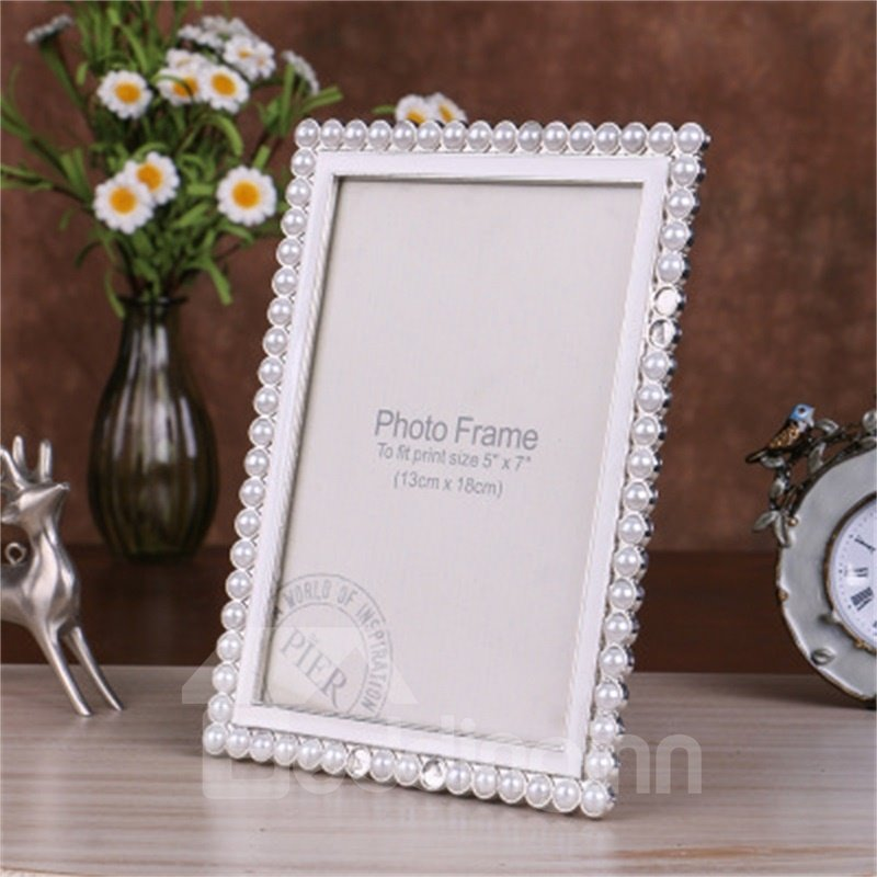 Modern and Creative White Metal Square with Pearls Wedding Photo Frame