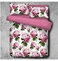 Pink Peony Blossom Pattern Pastoral Style Polyester 4-Piece Bedding Sets/Duvet Cover