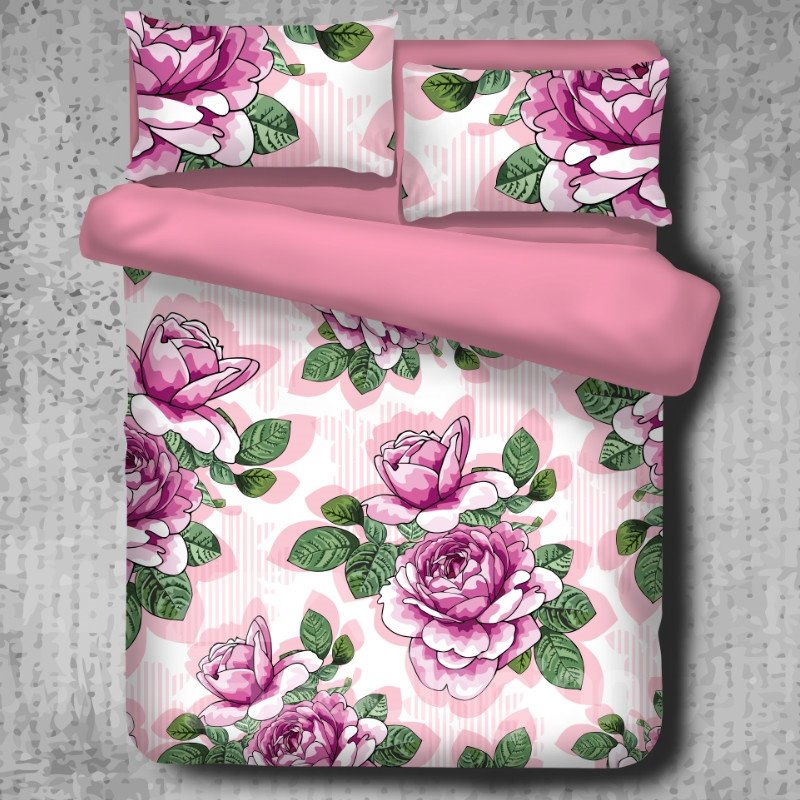 Pink Peony Blooming Pattern Pastoral Style 4-Piece Polyester Bedding Sets/Duvet Cover