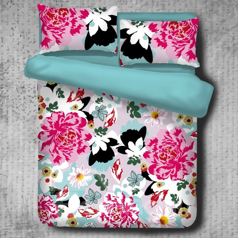 Black White Butterflies and Pink Peony Pattern 4-Piece Polyester Bedding Sets/Duvet Cover