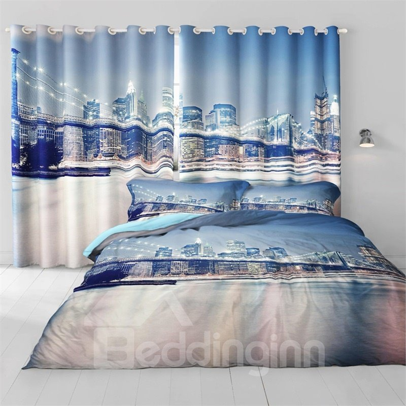 3D Broad Bridge in Night Printed Thick Polyester Two Panels Custom Living Room Curtain