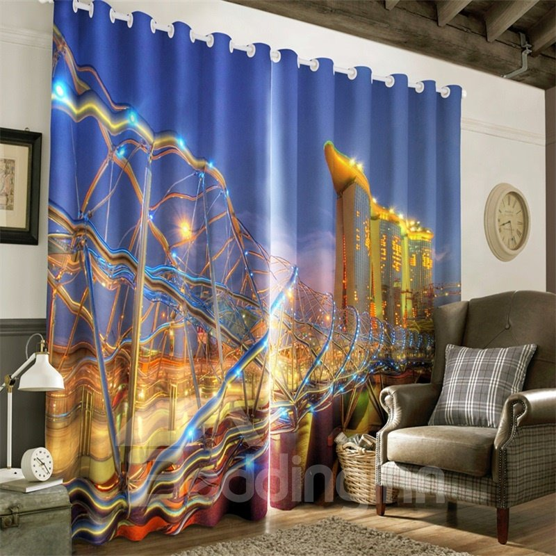 3D Bright and Charming City Night Scenery Printed Polyester 2 Panels Living Room Curtain