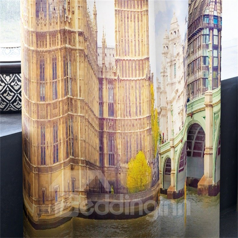 3D English Big Ben and Yellow Leaves Printed Custom Curtain for Living Room