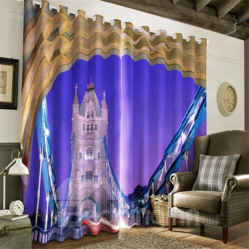 3D Purple Dreamy Castles Printed Custom Curtain for Living Room and Bedroom