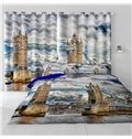 3D Outstanding English Big Ben Printed Artificial Scenery 2 Panels Custom Living Room Curtain