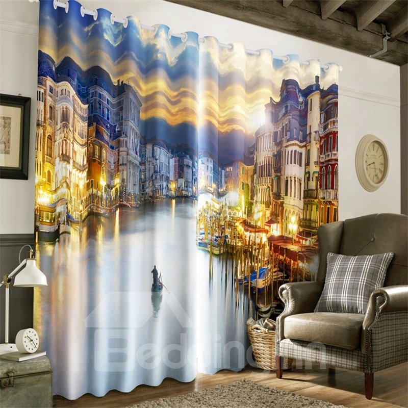 3D Modern Buildings in the River Side Printed 2 Panels Decorative Custom Curtain