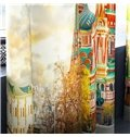 3D Colorful Castles Printed 2 Panels Custom Curtain for Living Room