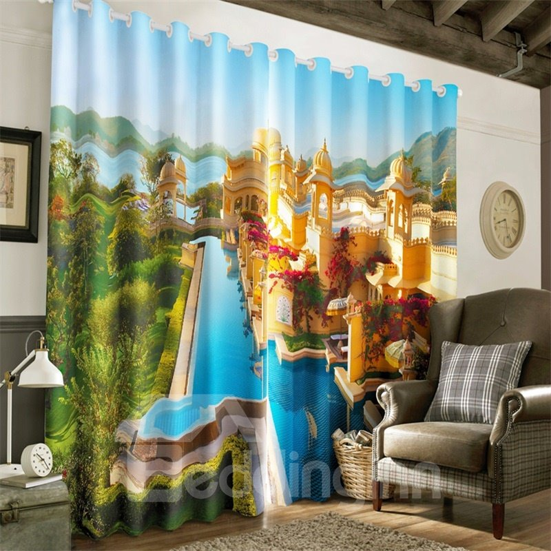 3D Golden Buildings and Blue River with Green Trees Printed Grommet Top Custom Curtain