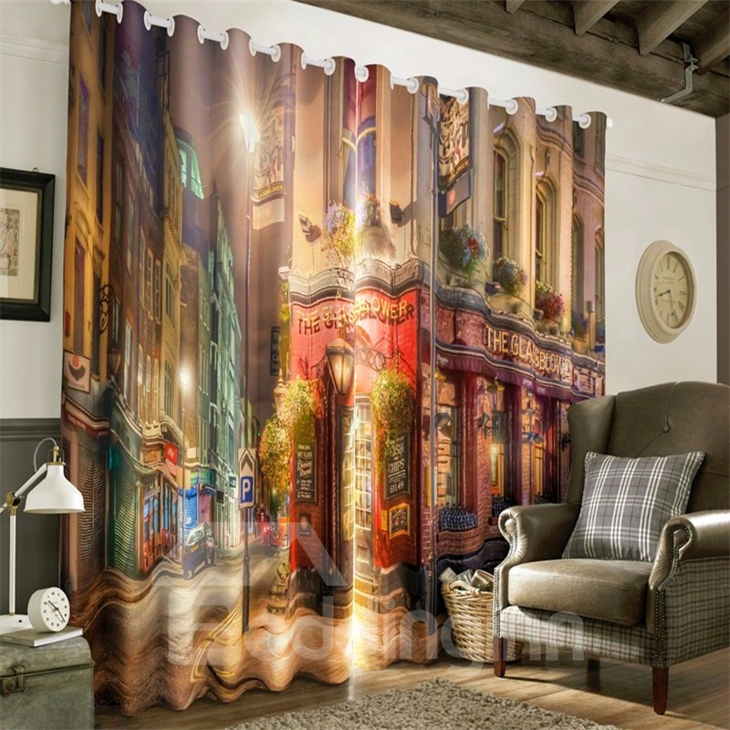 3D European Style Prosperous and Special Street Printed 2 Panels Custom Drape