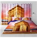 3D Bright and Golden Temple Printed Artificial Scenery 2 Pieces Custom Shading Cloth