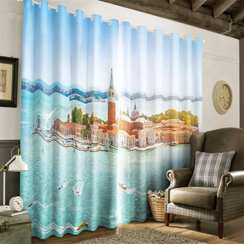 3D Graceful Island with Buildings Printed Artificial Scenery 2 Panels Grommet Top Curtain