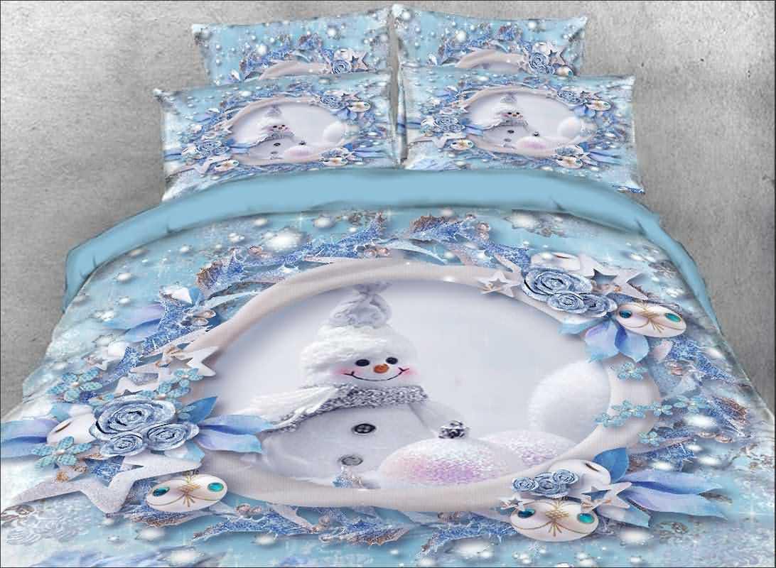 Vivilinen 3D Snowman and Christmas Ornaments Printed 5-Piece Comforter Sets