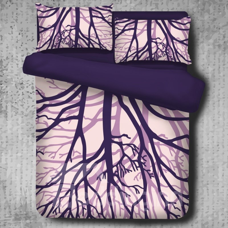 Tree Branches Pattern Purple High Thread Count 4-Piece Polyester Bedding Sets/Duvet Cover