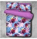 Colorful Roses Pattern Purple 4-Piece Polyester Bedding Sets/Duvet Cover