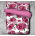 Sweet Love Red Roses Pattern 4-Piece Polyester Bedding Sets/Duvet Cover