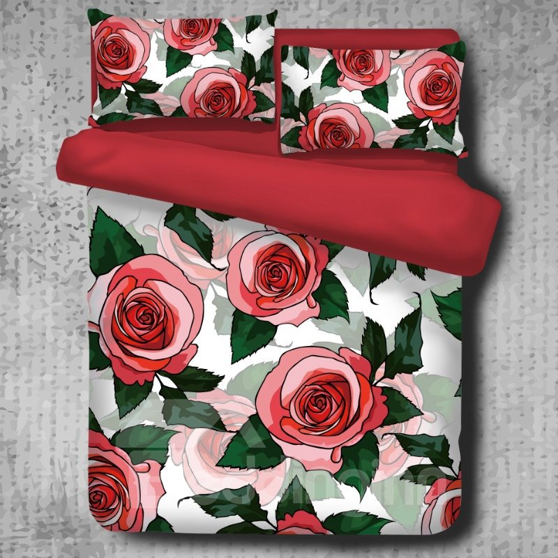 Red Roses and Green Leaves Pattern 4-Piece Polyester Bedding Sets/Duvet Cover