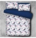 Elegant Calla Lily and Sketch Printed 4-Piece Polyester Bedding Sets